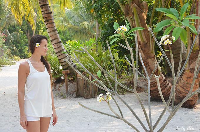 Malediwy wakacje Hanimaadhoo plumeria frangipani