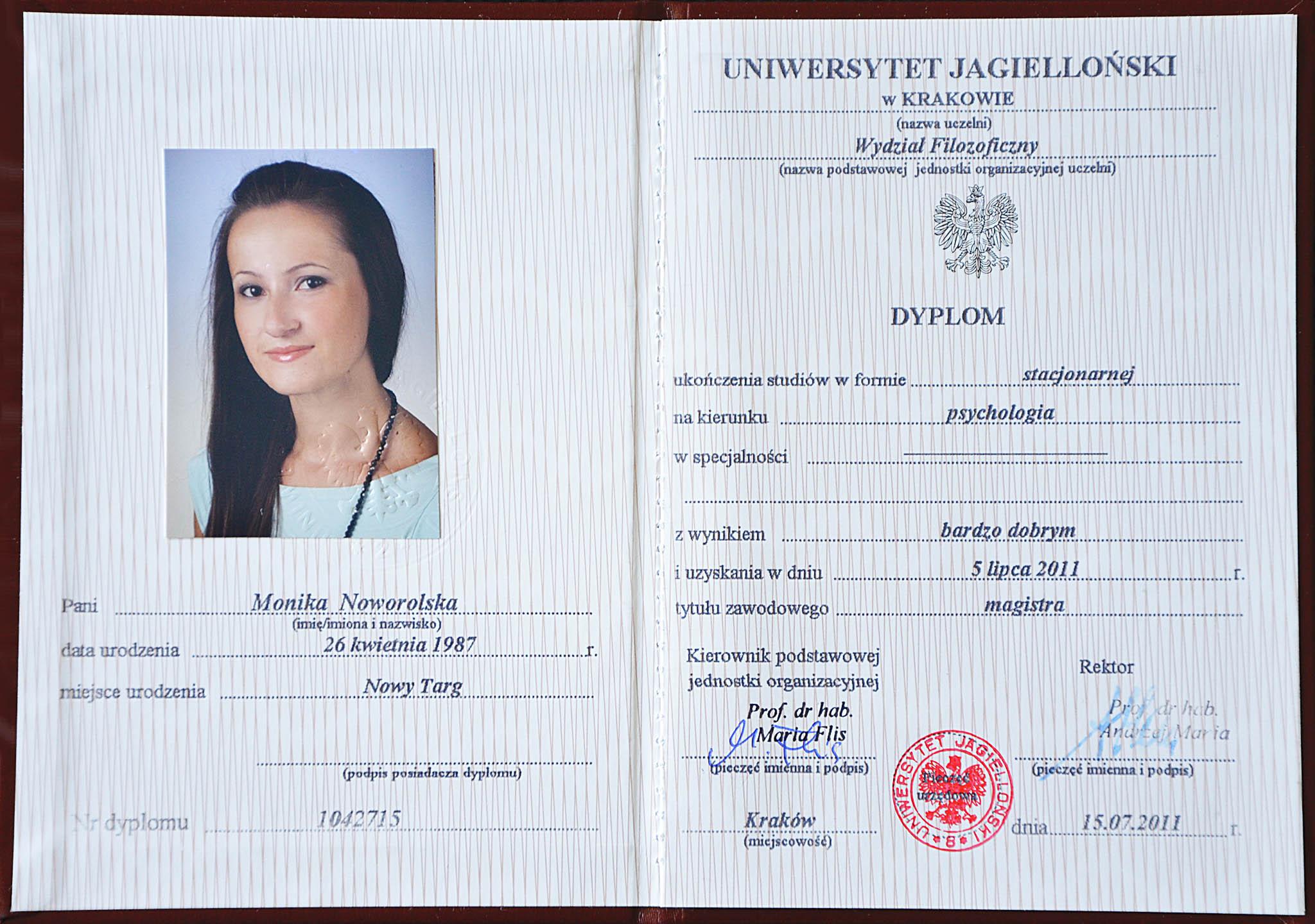 dyplom psychologia uniwersytet jagielloński
